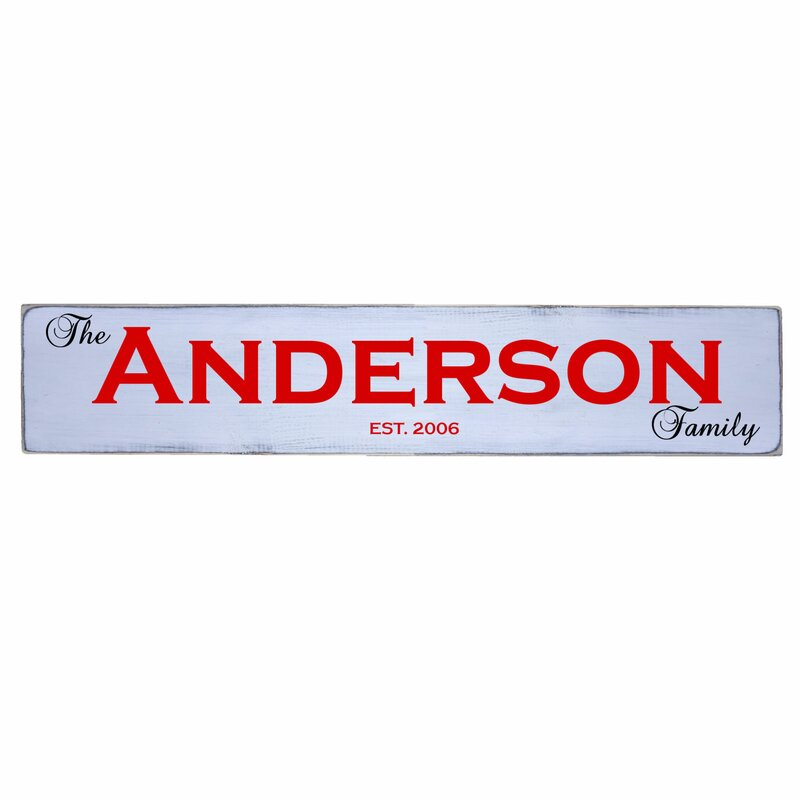 Personalized Family Name Year Established Sign Wall Decor
