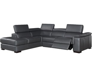Catawissa Leather Reclining Sectional Wade Logan