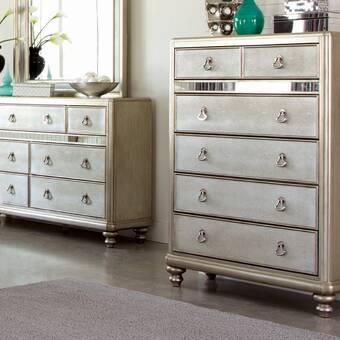 Brayden Studio Alfortville Asymmetrical Wooden 6 Drawer Double Dresser Wayfair
