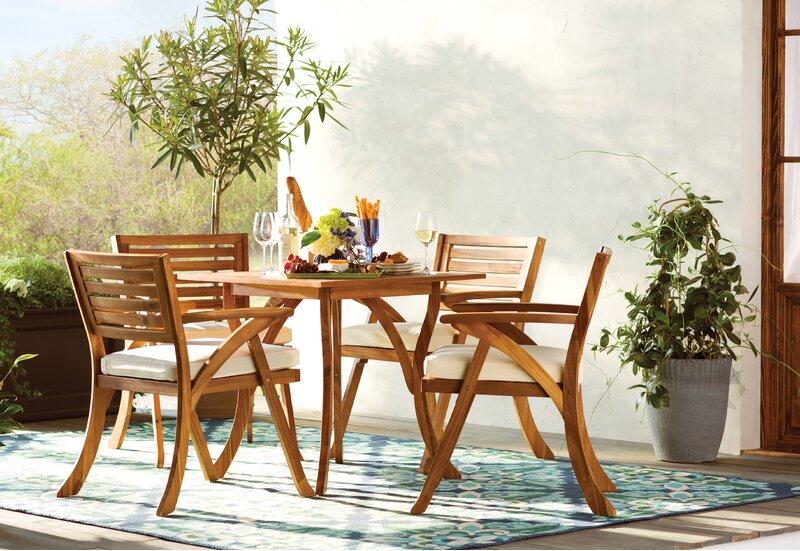 Mercury Row Ajax 5 Piece Teak Dining Set With Cushions Reviews Wayfair Ca