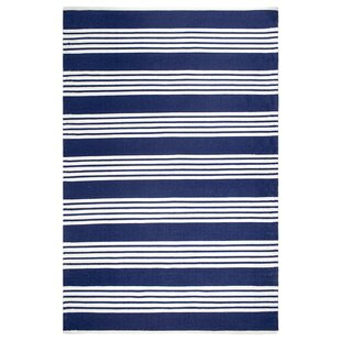 Compare Crosson Hand-Woven Blue/White Indoor/Outdoor Area Rug By Breakwater Bay