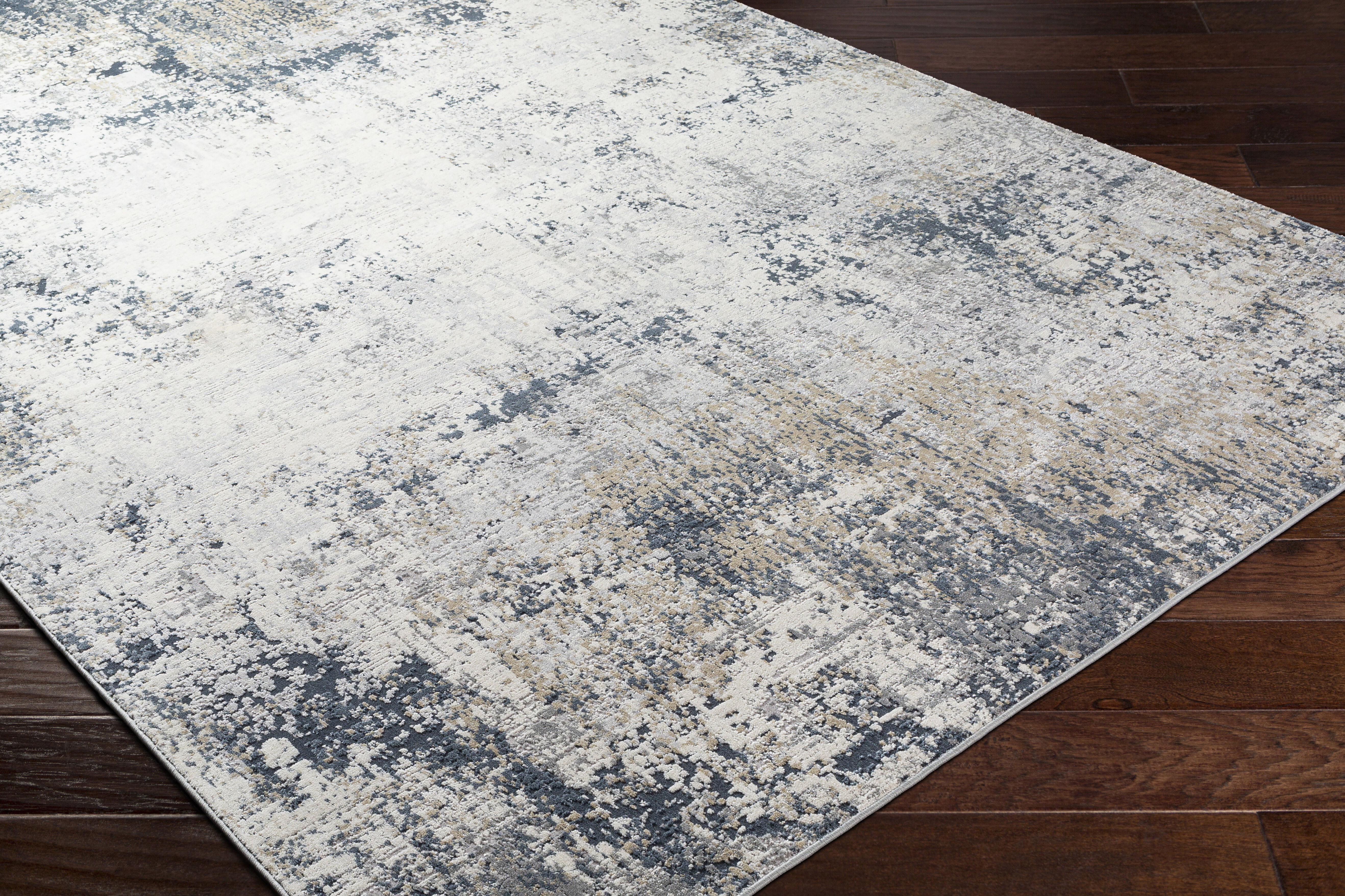17 Stories Adelene Abstract Ivory Teal Area Rug Wayfair