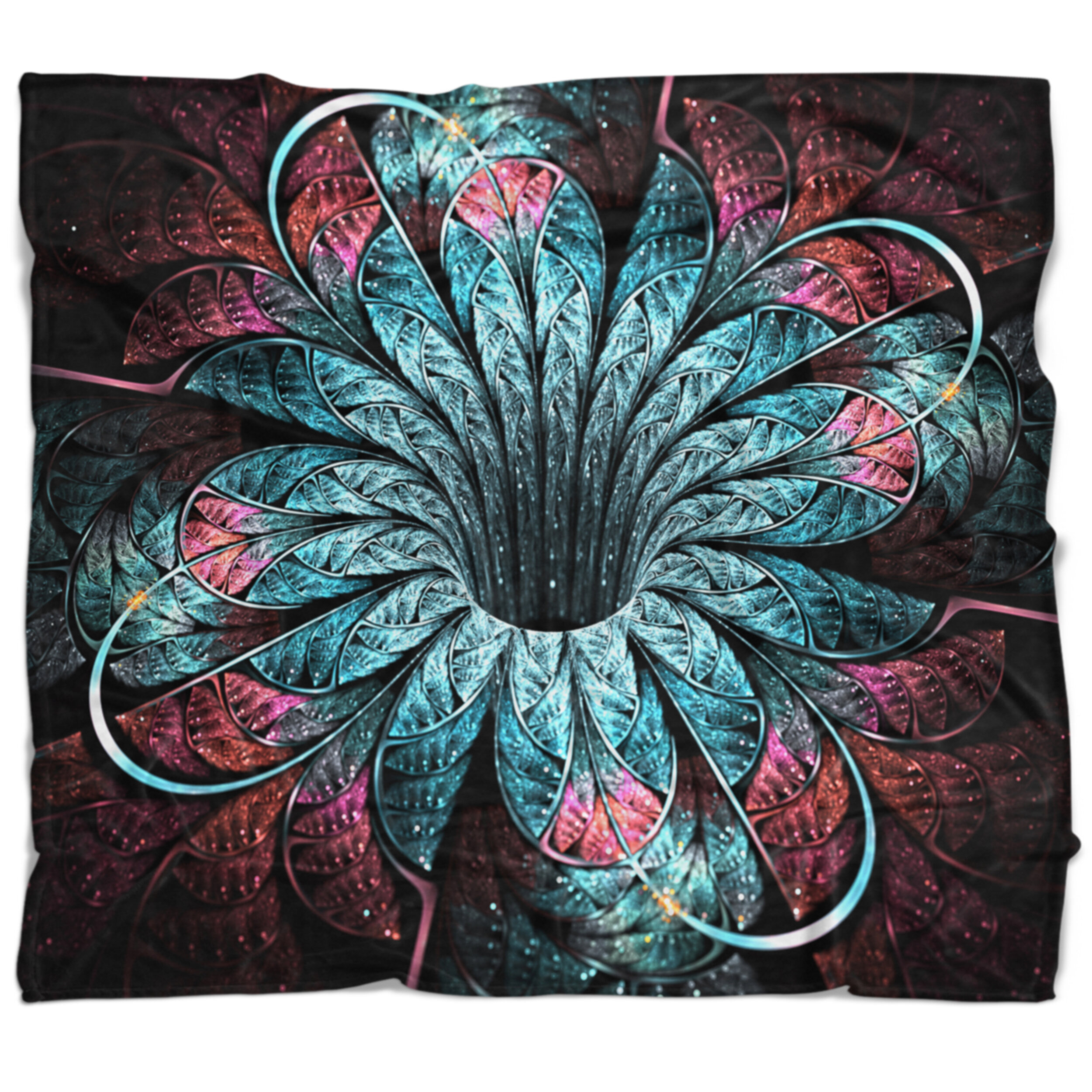 East Urban Home Floral Glittering Fractal Digital Art Blanket Wayfair