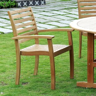 Cooley Stacking Teak Patio Dining Chair (Set of 4)