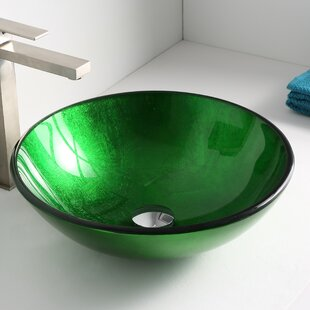 ANZZI Melody Glass Circular Vessel Bathroom Sink