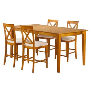 Haven 5 Piece Counter Height Solid Wood Dining Set by Winston Porter Great Reviews