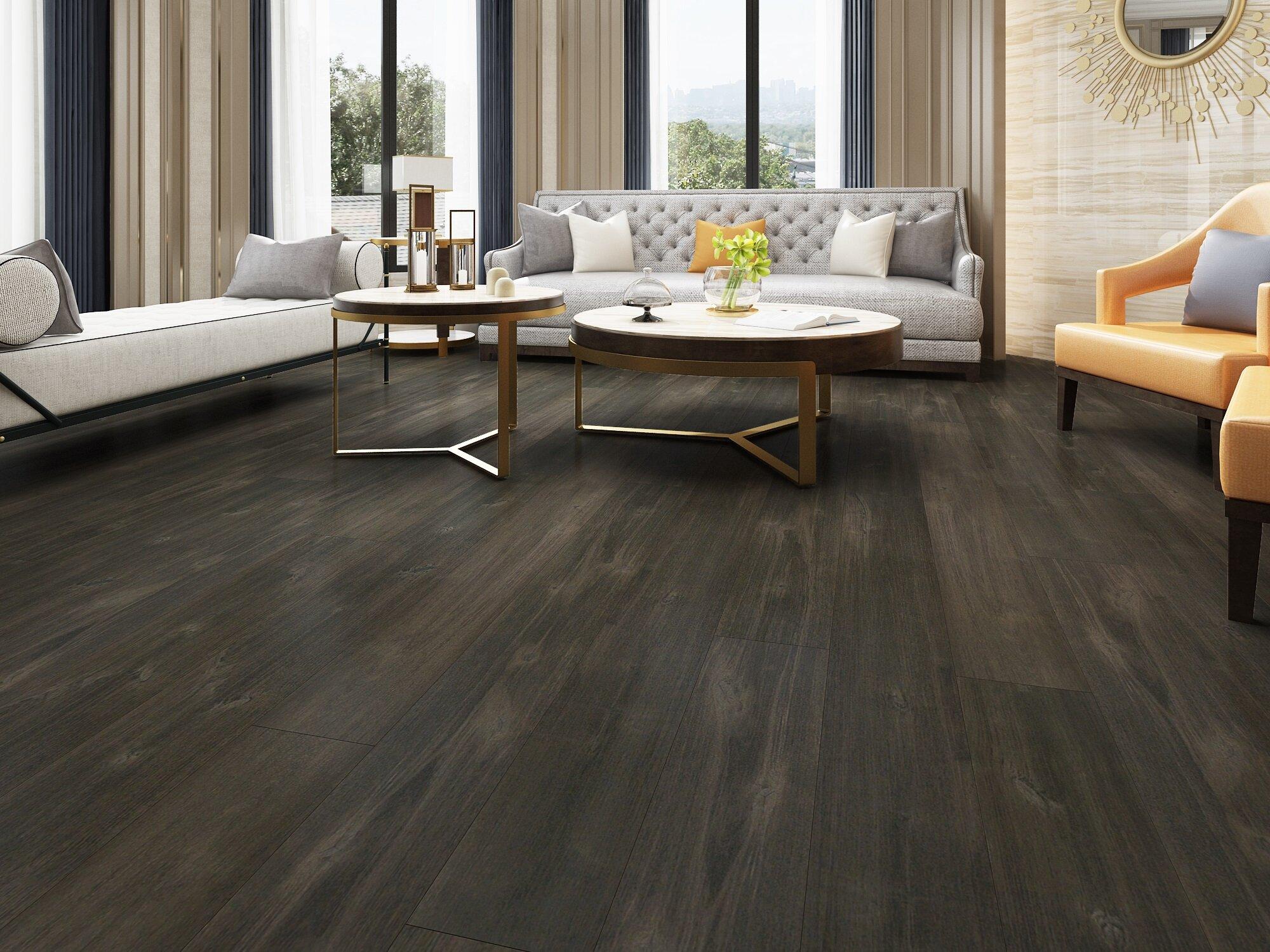 "Birch 8/8"" Thick x 8-8/8"" Wide x 85"" Length Pewter Finish Engineered  Hardwood Flooring"
