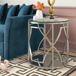 Edwards Glass Top Abstract End Table By Willa Arlo Interiors