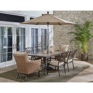 Carlee 7 Piece Dining Set With Cushions by Fleur De Lis Living Savings