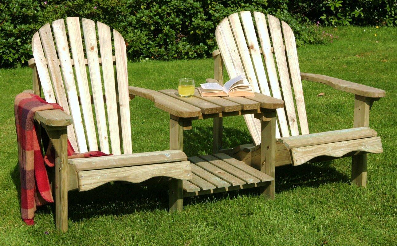 Pauls Valley Wooden Love Seat