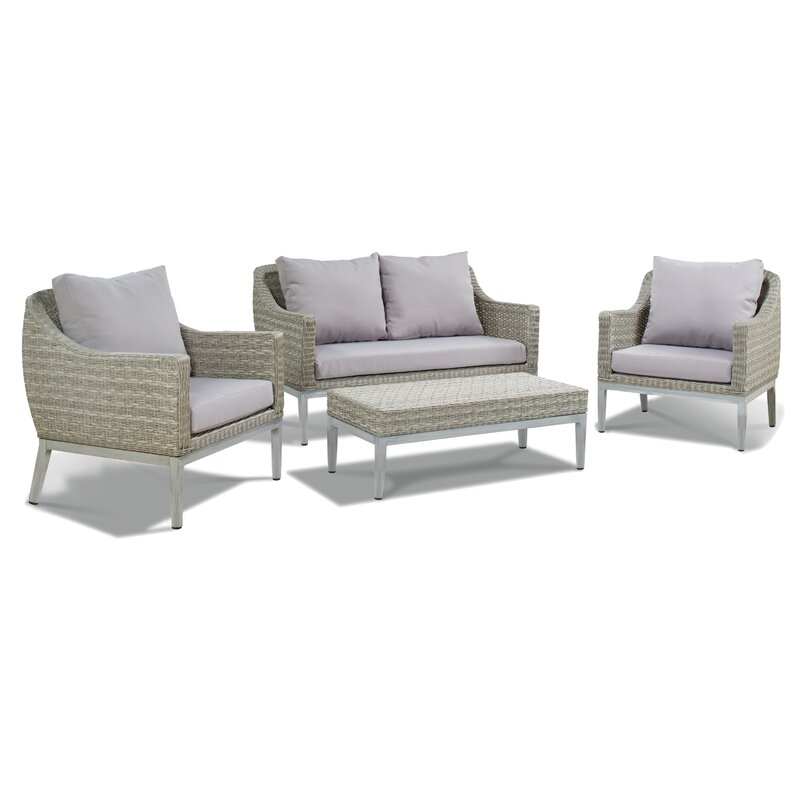 Lyndell 4 Piece Rattan Sofa Seating Group with Cushions & Reviews ...