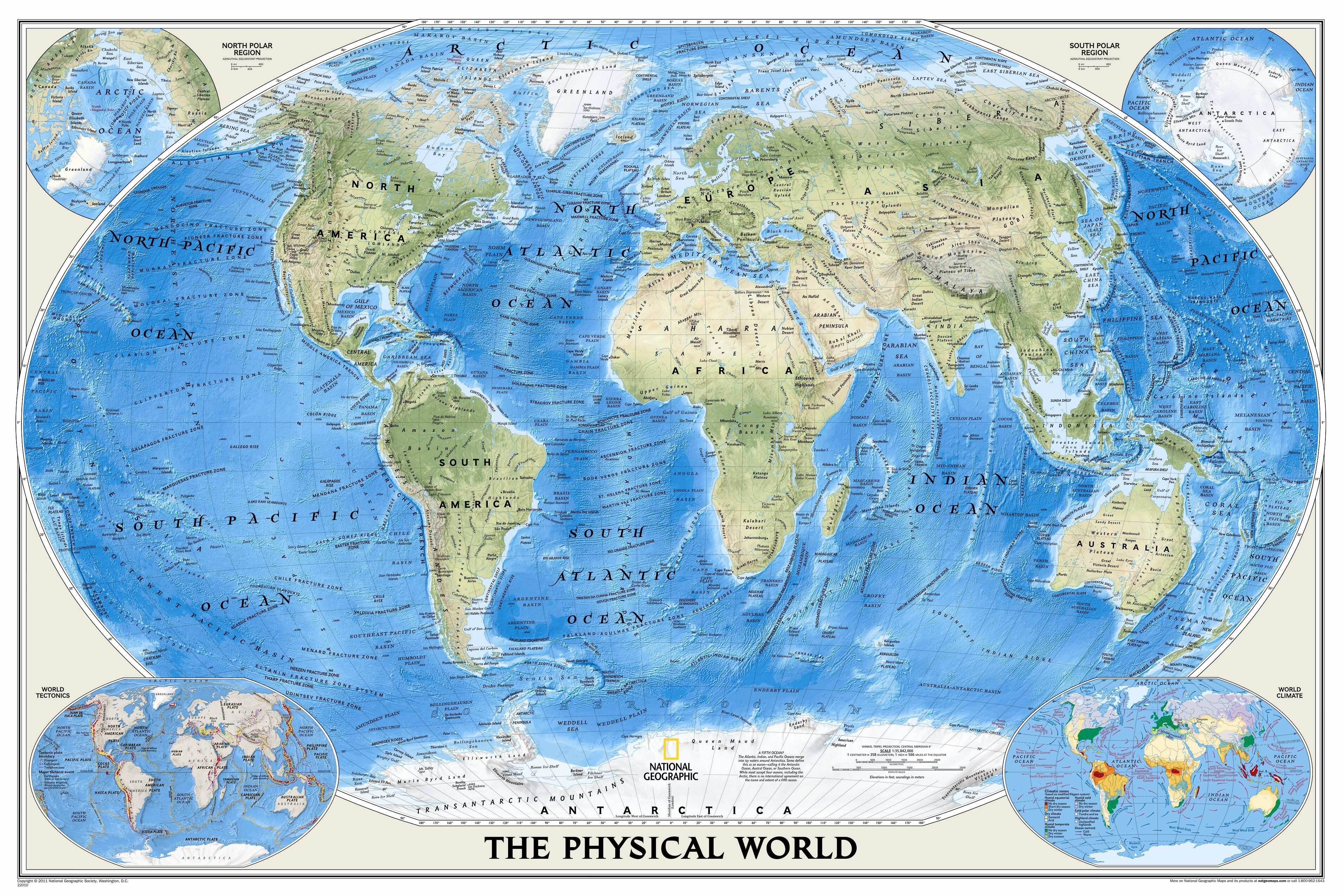 National Geographic Maps The Physical World Wall Map | Wayfair