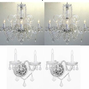 Littell 4 Piece Candle Style Chandelier and Wall Sconce Set  sc 1 st  Wayfair & Sconce And Chandelier Set | Wayfair