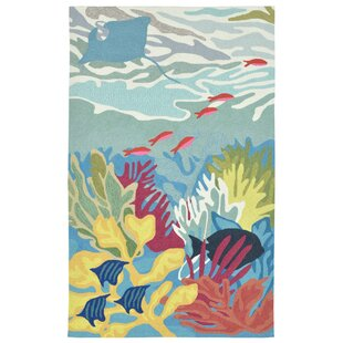 Clowers Coral Reef Hand-Tufted Blue Indoor/Outdoor Area Rug