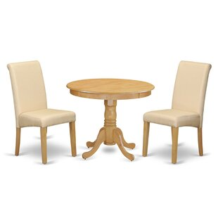 Paramore Table 3 Piece Solid Wood Dining Set Charlton Home
