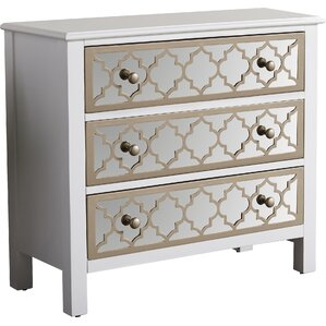 3 Drawer Overlay Mirrored Accent Chest