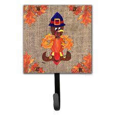 Thanksgiving Turkey Pilgrim Fleur De Lis Leash Holder and Wall Hook by Caroline's Treasures