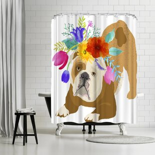Edith Jackson Flower Brown Dog Single Shower Curtain