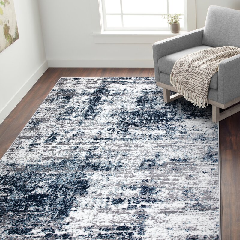 17 Stories Hirst Power Loom Gray Blue Rug Reviews Wayfair