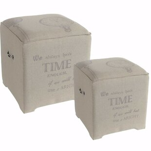 Walkowiak Suavely Trimmed Cube Ottoman (Set of 2) by Ophelia & Co.
