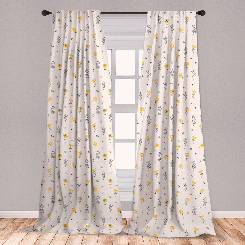 East Urban Home Ladybug Floral Room Darkening Rod Pocket Curtain Panels Wayfair