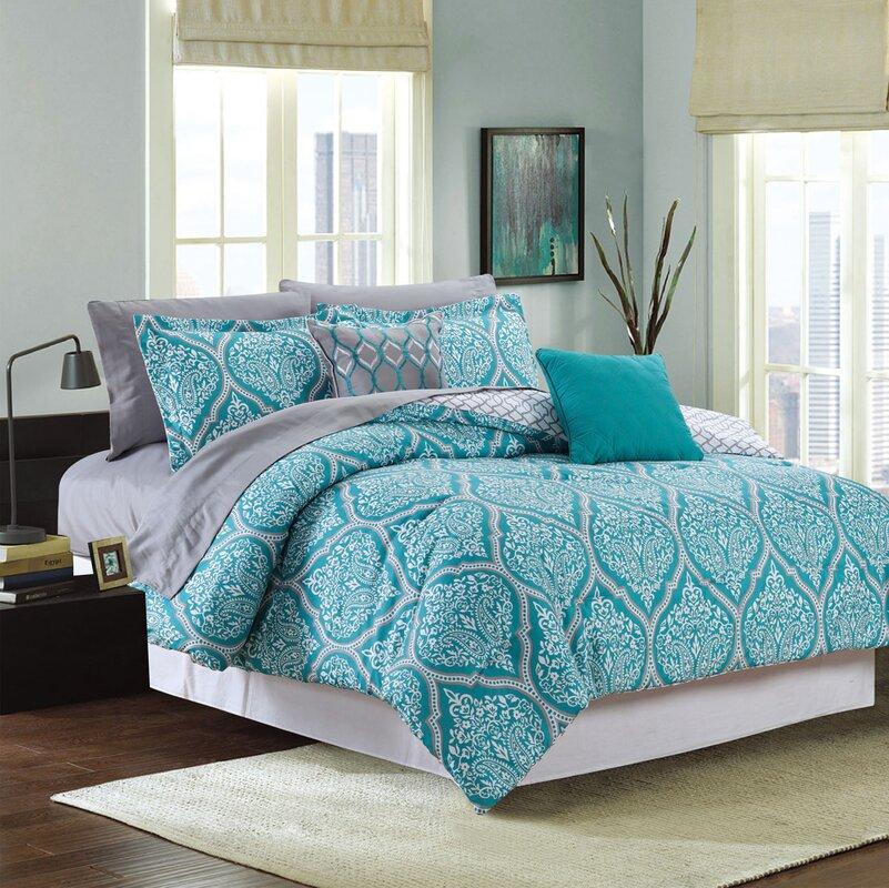 Fanette 9 Piece Reversible Bed-In-a-Bag Set