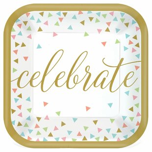 Confetti Fun Square Paper Disposable Appetizer Plate (Set of 54)
