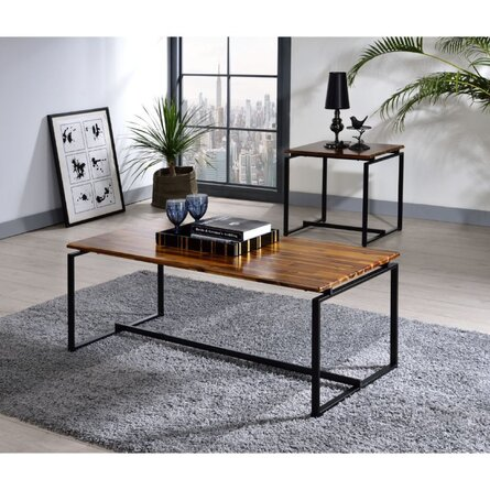 Modern Contemporary Home Office Utility Coffee Table End Table Set Of 3 Oak & Black Finish ( 1 Coffee Table , 2 End Tables )
