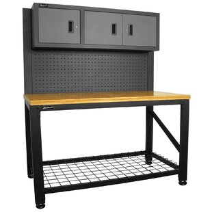 59W Adjustable Height Wood Top Workbench by Homak