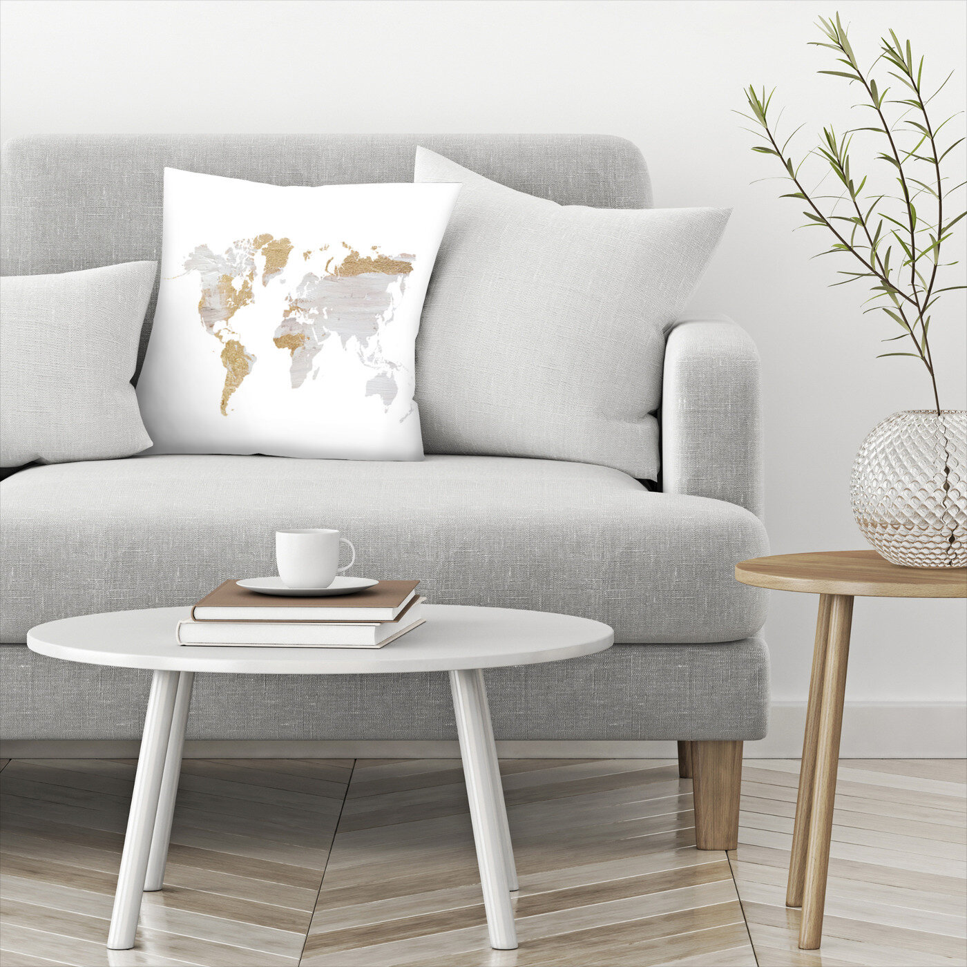 East Urban Home Gray Gold World Map Throw Pillow Reviews Wayfair