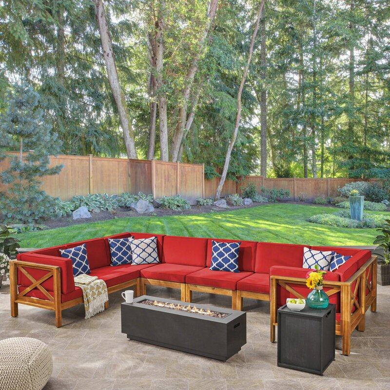 Longshore Tides Samuel Outdoor Farmhouse Sectional Seating Group with Cushion