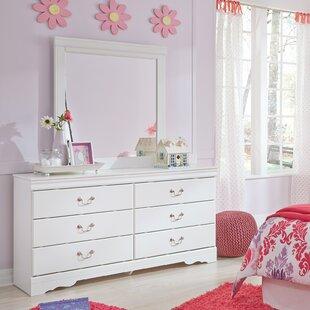 Harriet Bee Kurt 6 Drawer Double Dresser with Mirror