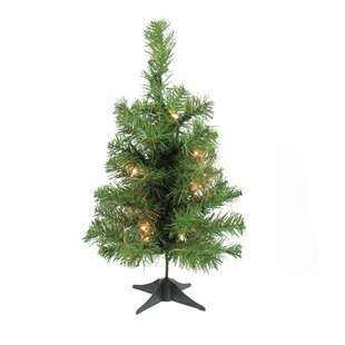 """18"""" Green Fir Artificial Christmas Tree with 20 Clear Lights with Stand"""