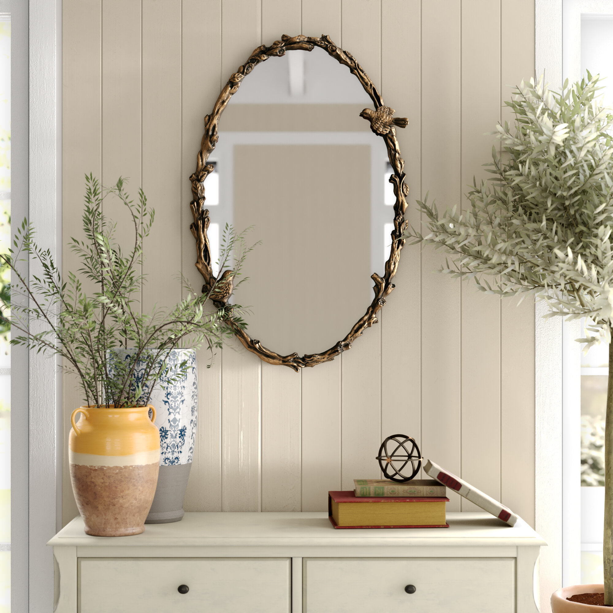 Osier Oval Mirror In Antique Gold Leaf Reviews Birch Lane