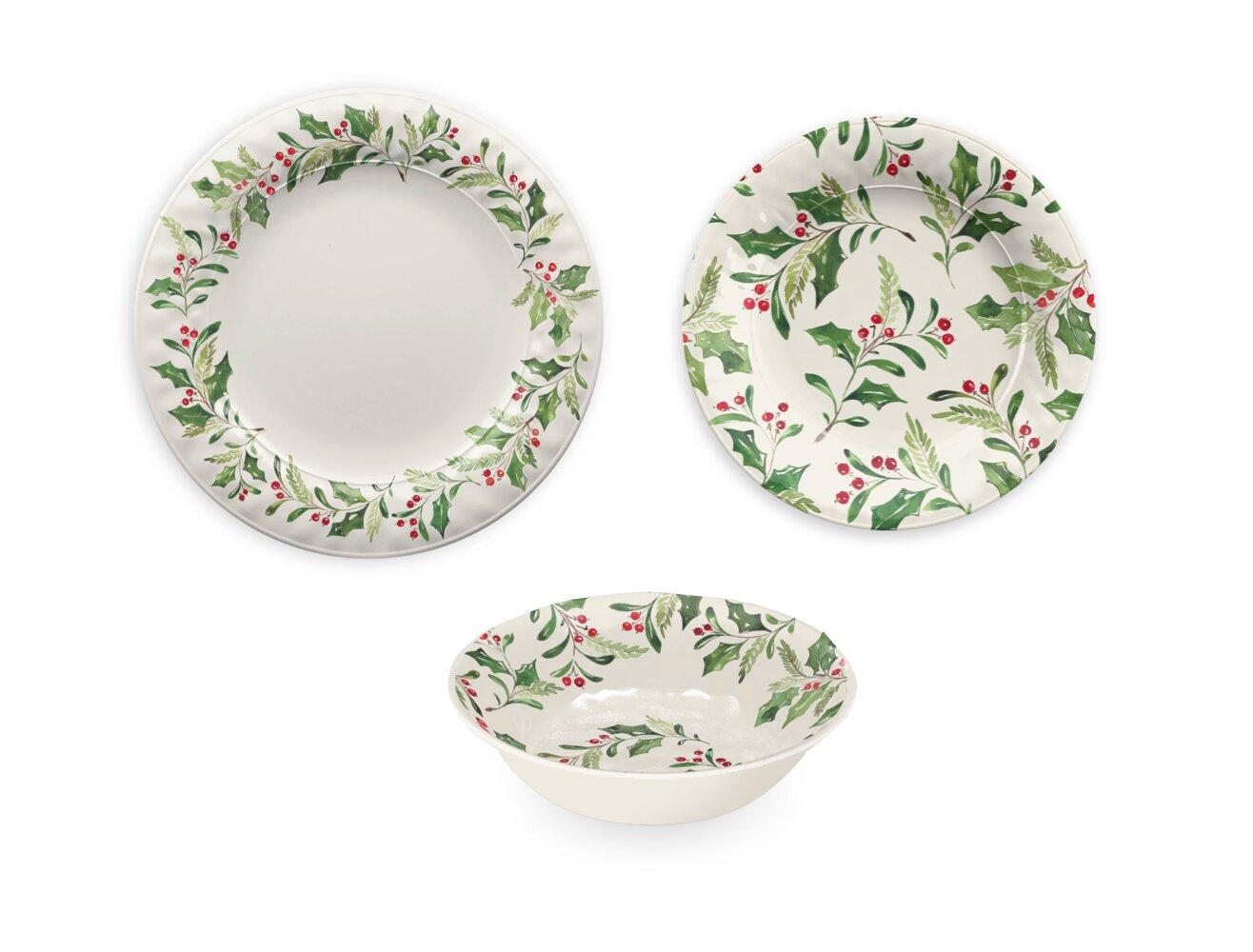 The Holiday Aisle Holly 12 Piece Melamine Dinnerware Set Reviews Wayfair