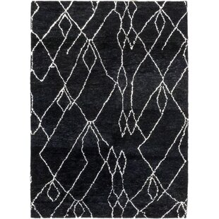 Order One-of-a-Kind Detweiler Hand-Knotted Wool Black Indoor Area Rug By Isabelline