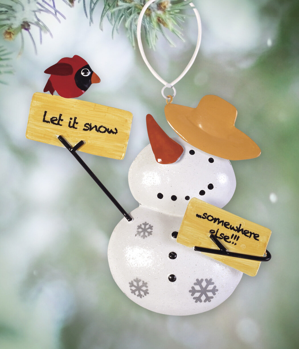 The Holiday Aisle Set Of 2 Snowman With Signhanging Figurine Ornament Wayfair