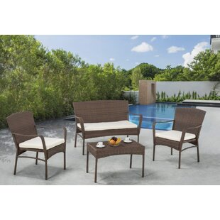 Rebbeca 4 Piece Rattan Sofa Set with Cushions