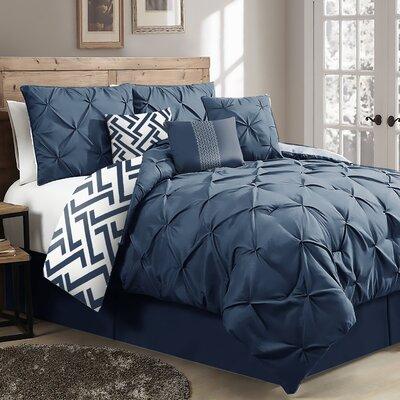 Parma 7-Piece Reversible Comforter Set Brayden Studio Size: Queen Comforter + 6 Additional Pieces, Color: Navy
