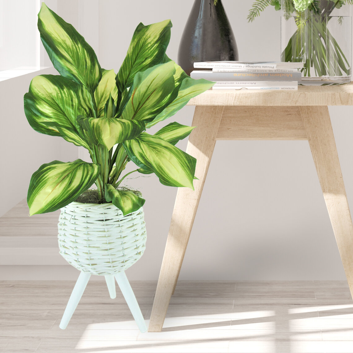 Bayou Breeze 22 Artificial Foliage Plant In Basket Wayfair