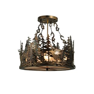 Meyda Tiffany Deer at Dusk 4-Light Drum Chandelier