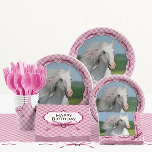 81 Piece Heart My Horse Birthday Paper/Plastic Tableware Set