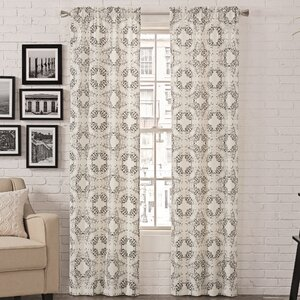 Liza Abstract Room Darkening Rod Pocket Curtain Panels (Set of 2)