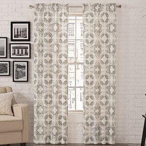 LizaAbstract Semi-Sheer Rod Pocket Curtain Panels (Set of 2)