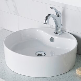 Price comparison Elavo Ceramic Circular Vessel Bathroom Sink with Faucet and Overflow By Kraus