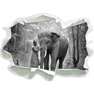 Beautiful Elephant With Monk Wall Sticker By East Urban Home