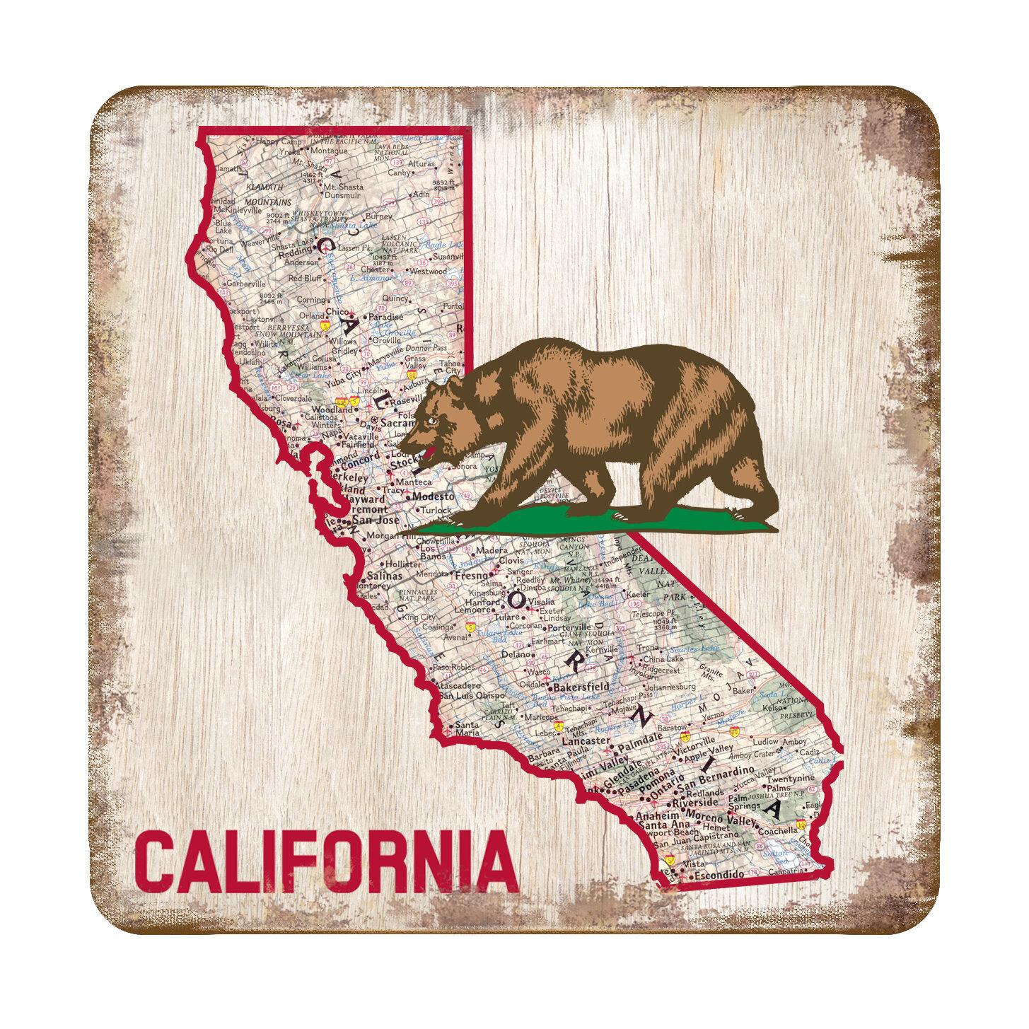 Loon Peak California Map And Bear Coaster Wayfair