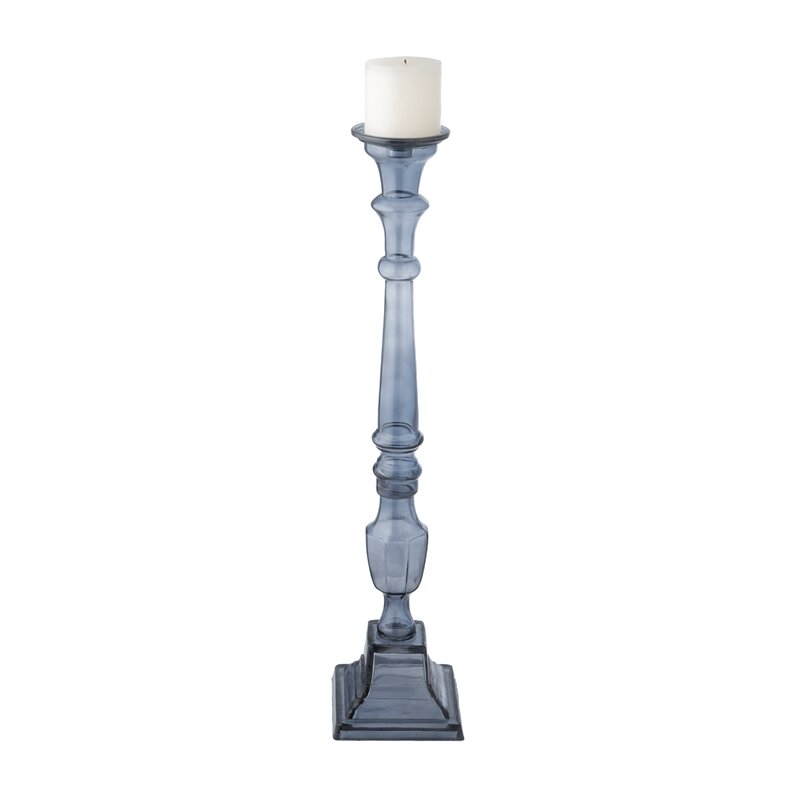 Astoria Grand Tall Glass Knight Pillar Candlestick Holder Reviews