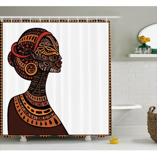 Haddou Pagan Exotic Beauty Woman Figure With Traditional Mask Totem Illustration Single Shower Curtain