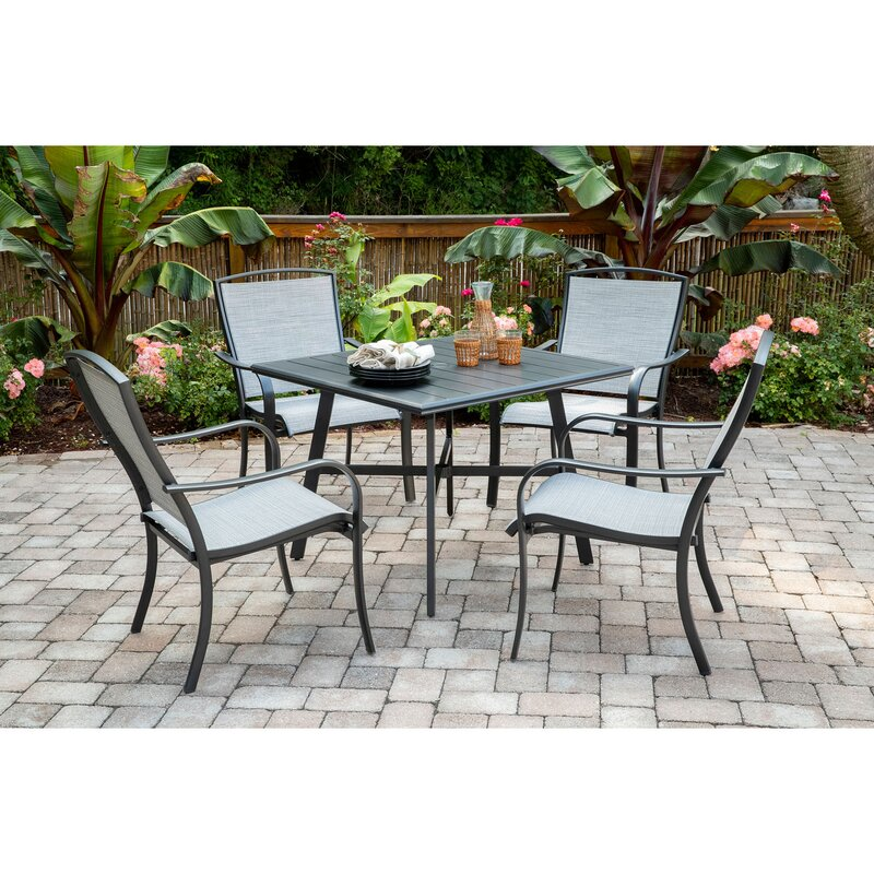 Charlton Home Wrenn 5 Piece Commercial Grade Patio Dining Set With 4 Sling Dining Chairs And A 38 Square Slat Top Table Wayfair